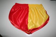 nailon Satén Sprinter Pantalones cortos DOS TONOS ROJO / amarillo con el