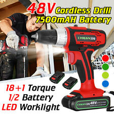 48V Cordless Electric Drill Rechargeable Battery LED Impact Screwdriver  2 Speed