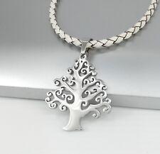 Silber Blume des Lebens Edelstahl Anhänger Weiß Lederband Halskette Geflochten
