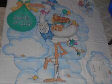 Vintage Daisy Kingdom Bundle of Joy Stork Baby Announcement Fabric Project Panel