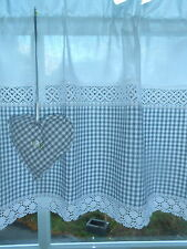 Trendy Landhausgardine Scheibengardine grau-weiß Vichy Karo Herz Shabby / Nr.48