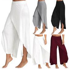 Summer Women Flowy Layered Palazzo Boho Wide Leg Pants Casual Yoga Long Trousers