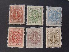 "POLONIA, POLAND,POLSKA 1920-22  ""Serie Ordinaria .Aquila "" 6 V cpl set MH*"