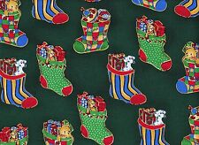 Green Stockings Christmas Fabric  115cm Wide (per metre)