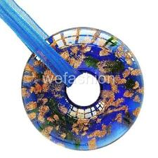 Circle Royal Blue Handmade Lampwork Murano Glass Bead Pendant Ribbon Necklace