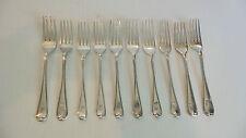 GROUP/10 ANTIQUE ENGLISH STERLING SILVER DESSERT FORKS, c. 1812-1834, 370 grams