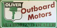 OLIVER OUTBOARD MOTORS VINTAGE SIGN REMAKE OLD SCHOOL BANNER GARAGE ART 2 X 4