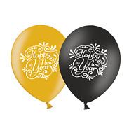 "Happy New Year Flourish - 12"" BG  Assorted Printed Latex Balloons pack of 12"