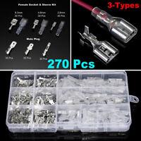 270Pcs/set Female Male Cable Lugs Car Electrical Wire Terminals Crimp Connect ij