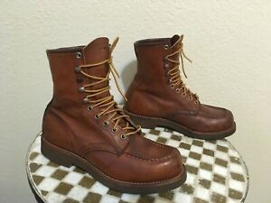 BROWN USA VINTAGE RED WING LACE UP TRAIL BOSS BOOTS 7 D