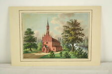 Gouache Malerei Backsteinkirche Backsteingotik um 1830 northern school church