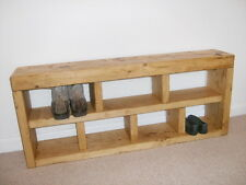 Shoe Rack Hall Bench Storage Seat Handmade Solid Chunky Rustic Pine Wood
