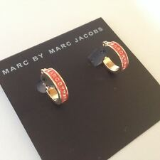 New Marc by Marc Jacobs Small Gold Red Glaze Enamel Logo Hoop Earrings