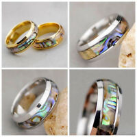 Mens Womens Stainless Steel Abalone Shell Band Ring Unisex Party Jewelry Gift