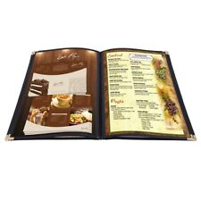 "20 Pack 8.5""x14"" 4 Page 8 View Menu Covers Black Trim Legal Size Restaurant Cafe"