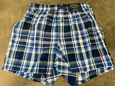 NEW Polo Ralph Lauren Men's Plaid Boxers Shorts S M L XL Woven Blue/Red Pony