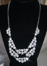 Charter Club Silver Tone Crystal Cluster Necklace NWOT $36