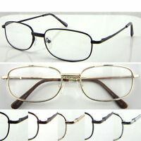 L44 Metal Square Frame Reading Glasses Spring Hinges Super Classic Style Design