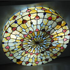 "20"" Rustic Vintage Tiffany Flush Mount Ceiling Light w/ Stained Glass Shell"