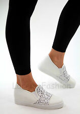 New Womens Casual Sneakers Low Hidden Wedge Heel Trainers Flat Walking Shoes