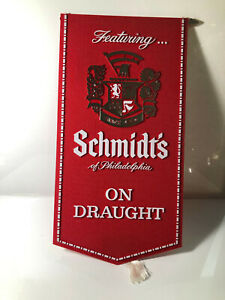 """Featuring SCHMIDTS BEER ON DRAUGHT ADVERTISING BAR SIGN PLASTIC VINTAGE 15"""""""