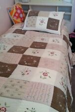 Twin quilt comforter with sham Brown Cream and Pink patch work quilt