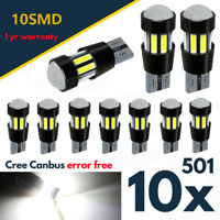 10x T10 501 Sidelight Led White W5w Bulbs Error Free Canbus Wedge Xenon Hid 194