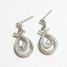 Estate 10K White Gold Single And Brilliant Cut Diamond Dangle Earrings 0.30 Cts