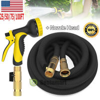 Latex Deluxe 25 50 75 100 FT Expanding Flexible Garden Water Hose w/Spray Nozzle