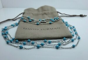 """David Yurman Silver Collectibles DY Station Turquoise Bead Chain 60"""""""