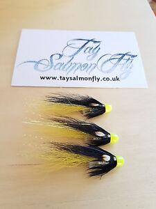 "3x Samurai Shrimp Black and Yellow Conehead 1"" Salmon Flies"