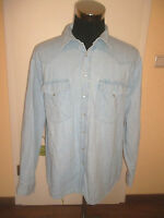 vintage BONONO Western Jeanshemd jeans shirt hipster light-blue Gr.XL (L)