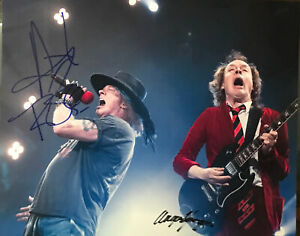 Axl Rose / Angus Young Signed Autograph In Person X2 Photo w COA