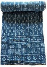 Indian Indigo Hand block Print Kantha Quilt,Blanket Cotton Queen Bedspread Throw