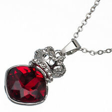 6.97 Ct Square Cut Shape Red Garnet / Ruby CZ 18K White Gold Plated Pendant
