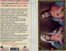 Sacred Heart of Jesus & Immaculate Mary Catholic Laminated Prayer Card HC9-190E