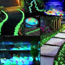 100g Pebbles Stones Glow in the Dark Home Garden Walkway Aquarium Fish Tank A