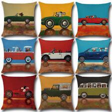 Cartoon Cotton Dog Driving Car Cushion Pillow Cover Coffee Shop 45cm*45cm