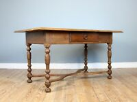 19th Century Single Drawer Serpentine Stretcher Refectory Table