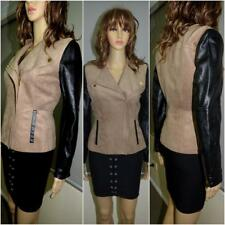 NWT H&M black & fawn faux leather suede fitted jacket 8 10 NEW soft CHIC stylish