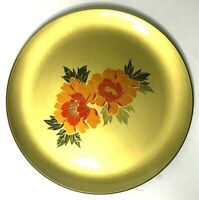 """Otagiri Gold Lacquered Plate Platter 12"""" w Floral Pattern Japan"""