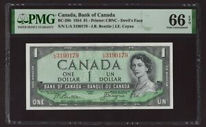 Canada 🇨🇦 1954 - $1 Devil's Face - PMG Gem UNC 66 EPQ (1 of 2 Consecutive)