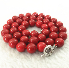 """Fashion red coral stone round beads 10mm jewelry necklace18"""""""