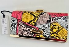 RIVER ISLAND PURSE PINK YELLOW GOLD SNAKE PRINT PATCHWORK CLIP TOP NEW RRP £20