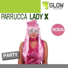 PARRUCCA LADY X ROSA anni 50 60 gaga grease hippy notte rosa costume festa 33626