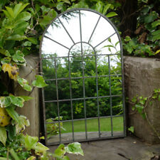 Gothic Arch Garden Mirror 32 Panel Distressed Metal Frame Wall Mountable Outdoor