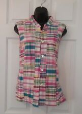 Orvis Womens Fashion Vest Size Med. Patch Work Pink Button Front Cotton
