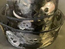 HALLOWEEN WIRED ORGANZA BLACK SILVER  METALIC SKULL RIBBON63MM WIDE CRAFT