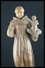 † 17TH MEDIEVAL SAINT ANTHONY of PADUA + JESUS HAND CARVED WOOD STATUE FRANCE †