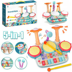Kids Toddler Electric Drum & Piano Kit Set With Microphone & Lights Musical Toys